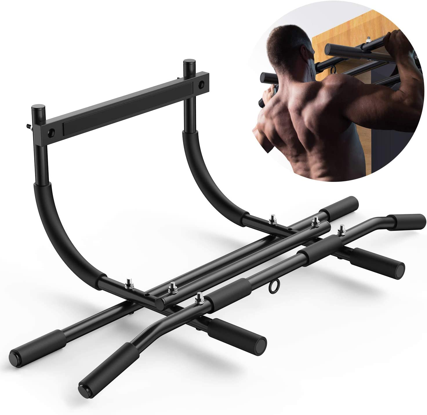 Pull Up Bar for Doorway No Screws - Heavy Duty Chin up bar with Ergonomic Grip Holds up to 440 Ibs, Adjustable Multi-Function Home Gym Fitness Equipment (Fits Almost All Doors)