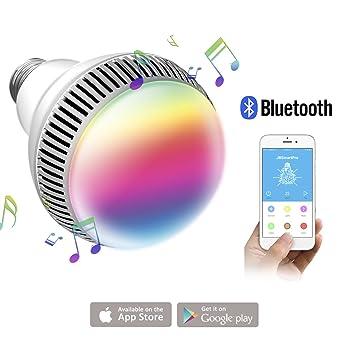 morpilot Bombilla Inteligente de Luz Multicolor, Bombilla LED Inalámbrica con Bluetooth 4.0 Altavoz, Playbulb