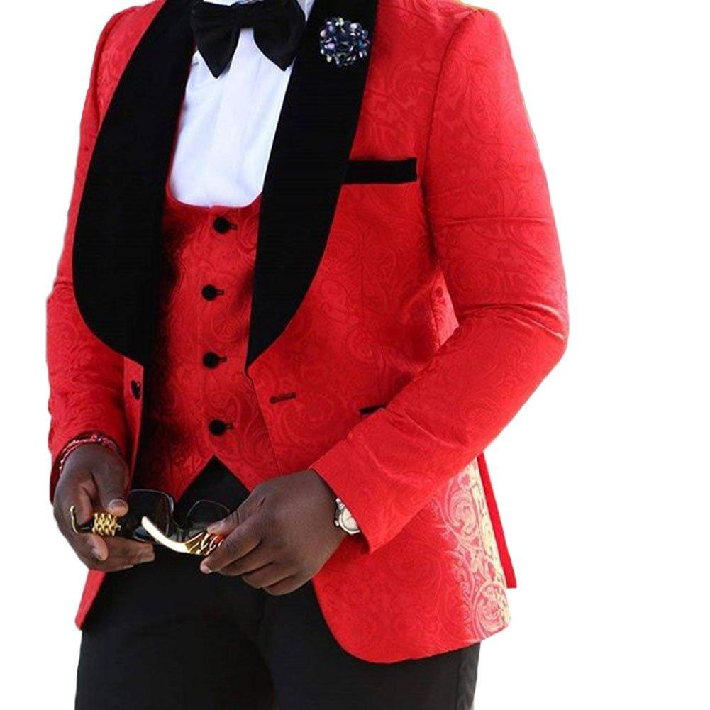 Yanlu Men's 3 Piece Suit Shawl Lapel One Button Wedding Groom Tuxedos