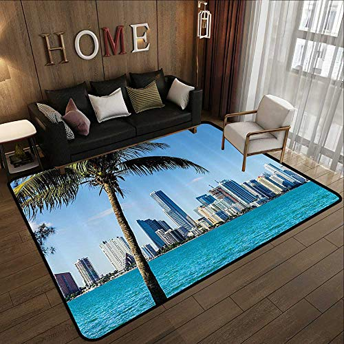 Large Classical Carpet,Coastal Decor,Miami Downtown with Biscayne Bay Buildings and Palm Tree Panoramic,Sky Blue Aqua Green 47
