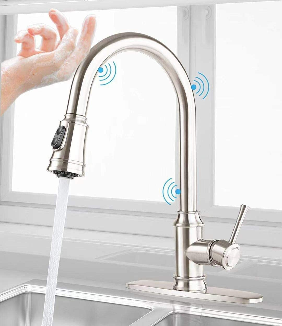 CWM Touch Kitchen Faucets with Pull Down Sprayer Stainless Steel Kitchen Sink Faucet with Pull Out Sprayer Single Handle Touch Activated Faucet with Two Water Modes 16.5 inch with Deck Plate…