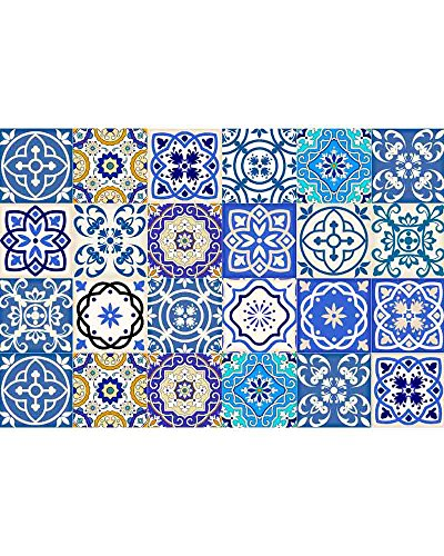 (Tile Stickers 24 PC Set Authentic Traditional Talavera Tiles Stickersl Bathroom & Kitchen Tile Decals Easy to Apply Just Peel & Stick Home Decor 6x6 Inch (Bathroom decals))