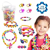 SOTOGO 270 Count Snap Beads Pop Beads Art Crafts for DIY Jewelry Making Set Toys (Do Not Need String) - Hair Clasp,Necklace, Bracelet and Ring, Best Toys Gift for Kids