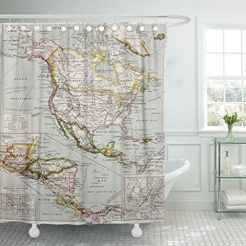 Emvency Fabric Shower Curtain Curtains with Hooks Northern and Central America Old Map with New York City Insert By Paul Vidal De Lablache Atlas Classique 72