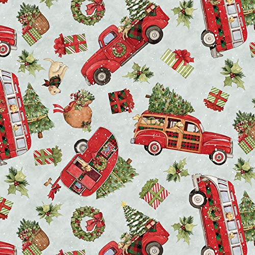 Springs Creative Red Truck Toss Christmas with Tree Cotton Fabric]()