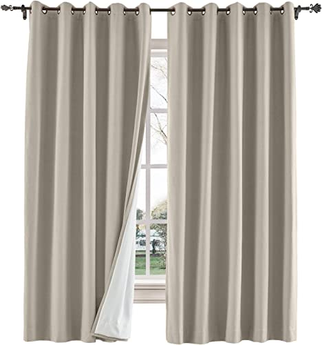 TWOPAGES 150 W x 96 L inch Grommet Drapes Blackout Curtain for Bedroom Cotton Blend Room Darkening Blackout Curtains with Interlining, 1 Panel, Cashmere