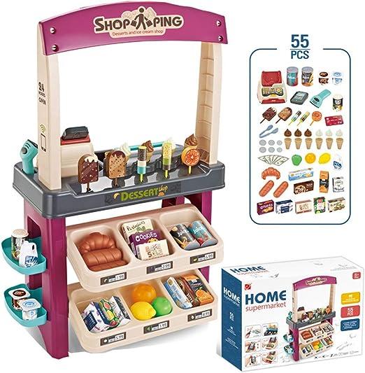 Juego de juguetes de la tienda de supermercado para niños, Conjunto de juguetes de caja registradora de compras de supermercado de helados, Regalos de simulación de juegos para niños y niñas ZDDAB: