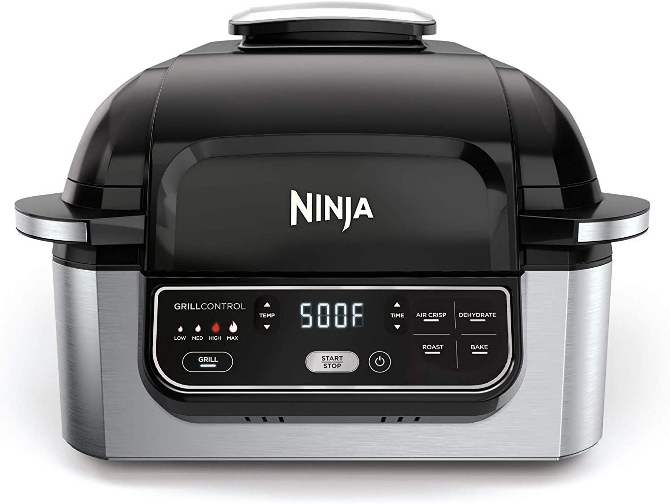 Ninja Foodi 5-in-1 Indoor Grill with Air Fry, Roast, Bake & Dehydrate (AG302), Black and Silver