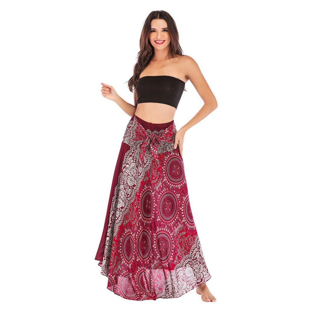 Casual/Elegant Dress/Bottoms Women Long Hippie Bohemian Gypsy Boho Flowers Elastic Floral Skirt Red by UCQueen