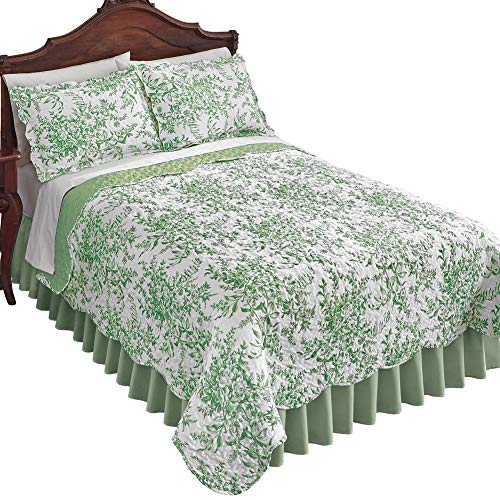 Leafy Floral Garden Reversible Quilt - Country Cottage Chic Design, Sage, Twin