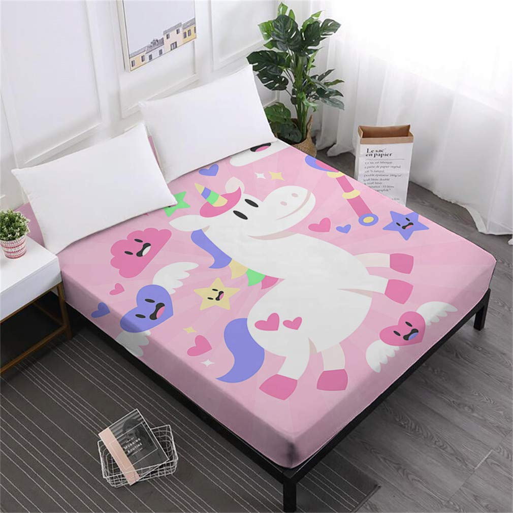 Unicorn Series Bed Sheets Cute Cartoon Print Fitted Sheet Girls Kids Sweet Sheets 100% Polyester Mattress Cover Home Decor DCL-AS43 Queen
