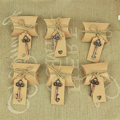 50pcs Country Theme Personalized Antique Bronze Key Bottle Openers Key Chain with Escort Card Thank You Tag Pillow Candy Box for Guests Party Wedding Shower (Thank You Wedding Keychains)