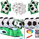 Football Party Pack Supplies Kids Birthday Tableware Football Decorations For 16 Guests - Football Party Plates Balloons - Free Balloons Pumps Candles