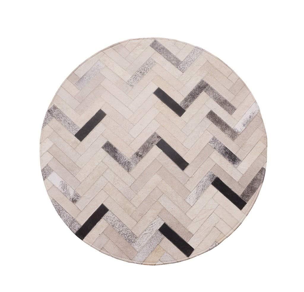 丸型カーペット 牛革マット ほこりのないパッド にとって 寝室 リビングルーム 滑り止め 黒と白とグレー (サイズ さいず : DIAMETER:160CM) DIAMETER:160CM  B07RHRKLP3