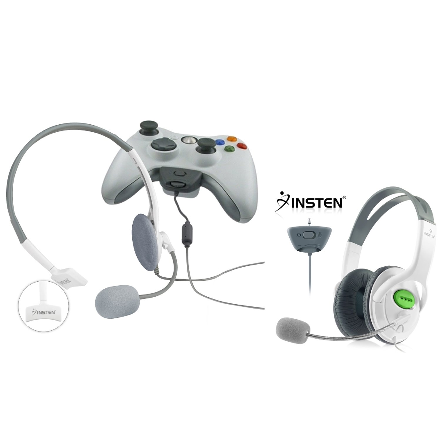 Insten 2 Pack Gaming Chat Live Headset With Microphone Compatible With XBOX 360 / Xbox 360 Slim Wireless Controller M by INSTEN