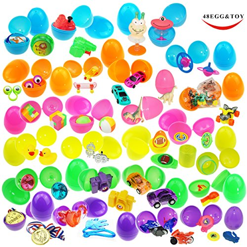 48 Toy Filled Bright Colorful Surprise Eggs, 2.5 Inches, Include 24 kinds of Popular (Toys In Eggs)
