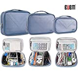 BUBM Travel Electronics Organizer 3pcs Set, Gadget Storage Bag for Cables,iPad,External Hard Drive,Chargers and Cords,Power Bank,Camera Accessories,PU Leather Makeup Organizer Box (Blue)