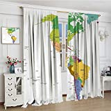 smallbeefly Map Room Darkening Curtains Map of South and North America with Countries Capitals and Major Cities Colorful Design Blackout Draperies For Bedroom 96''x84'' Multicolor