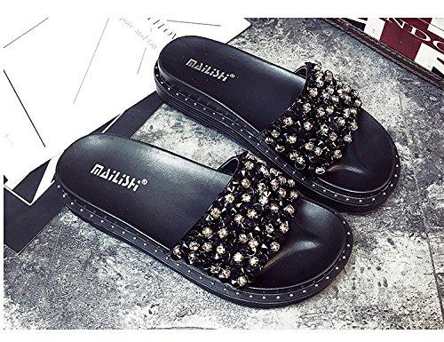 Chaussures Rugueux de Pantoufles Plage Sandales de Chaussures de Femmes Strass Plate Forme Simple Luxe MSM4 de Noir des Black Gris Conception qfOwY6x