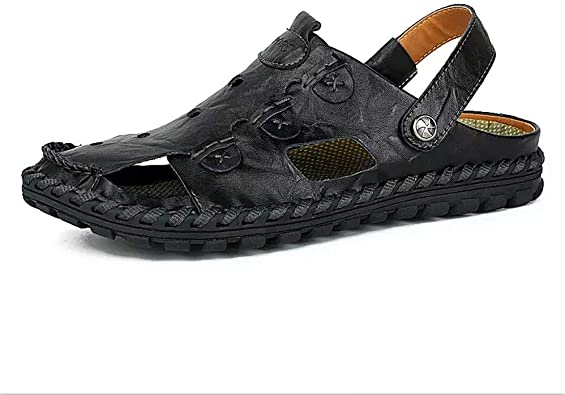 2019 Summer Genuine Leather Outdoor Shoes Men Sandals Male Casual Classic Water Walking Beach Sandalias Sandal Size 47,Black,6