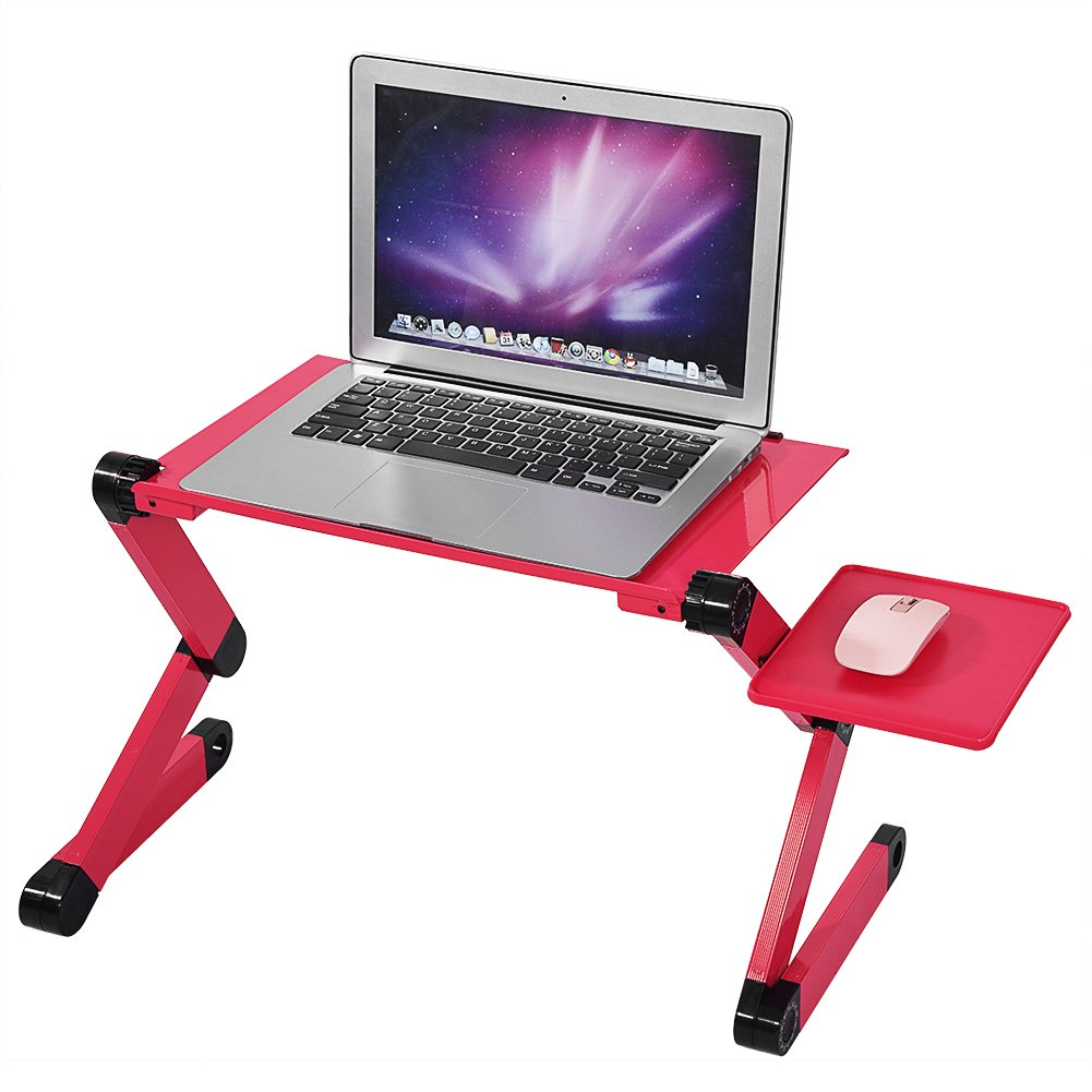 Greensen Adjustable Aluminum Vented Laptop Table Computer Desk Portable Mouse Tray, Multifunctional & Ergonomics Design Dual Layer Tabletop (Red)