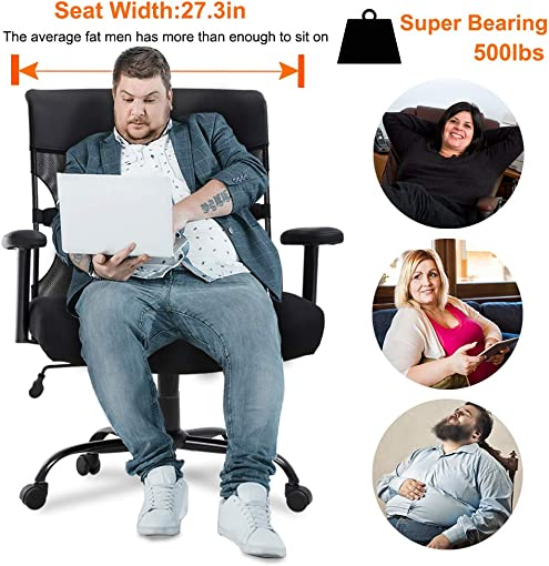 Big and Tall Office Chair 500lbs Wide Seat Desk Chair Ergonomic Computer Chair Task Rolling Swivel Chair