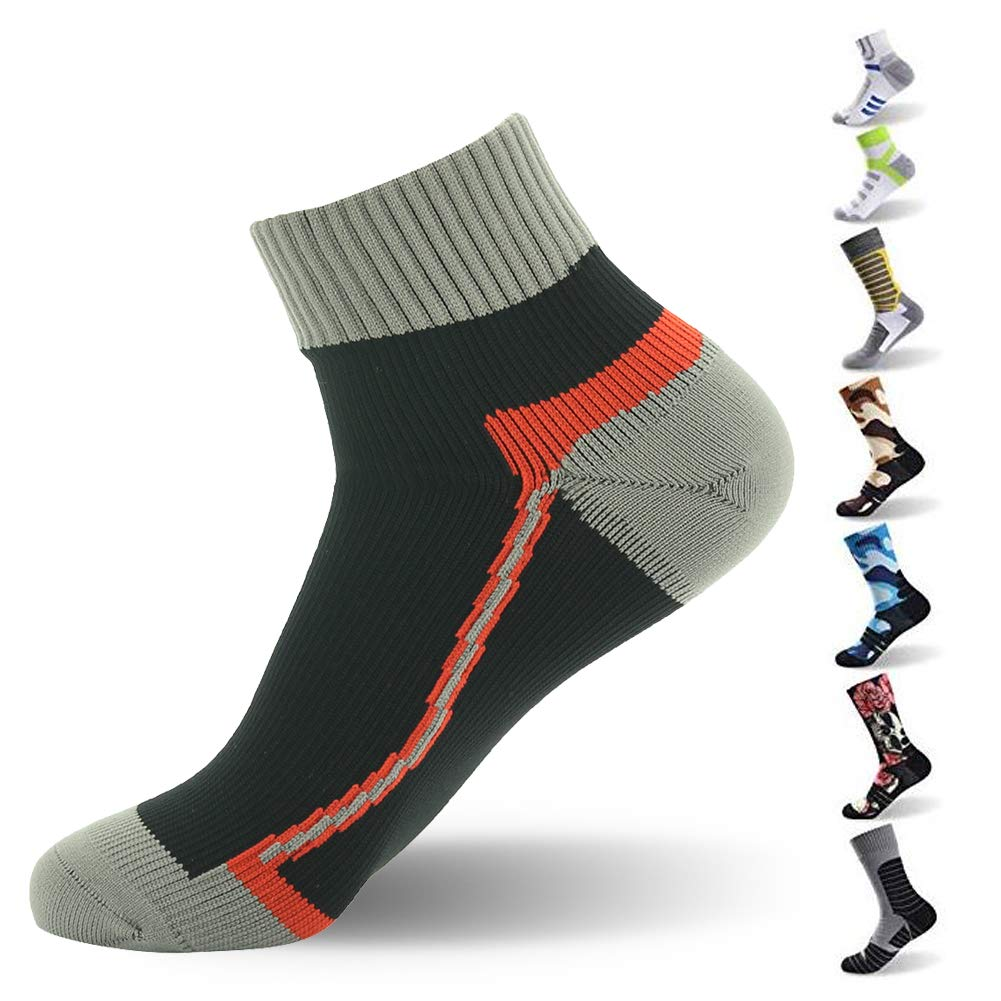 RANDY SUN Ankle Socks,[SGS Certified] Men's Waterproof Socks Suitable for a Range of Outdoor Activities Black & Gray & Red Large