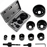 "Locisne Hole Saw Set 11 pieces 3/4'' - 2 1/2"" Hole Saw Kit Hex Key and Install Plate for Wood, PVC board, Plastic Plate Drilling"
