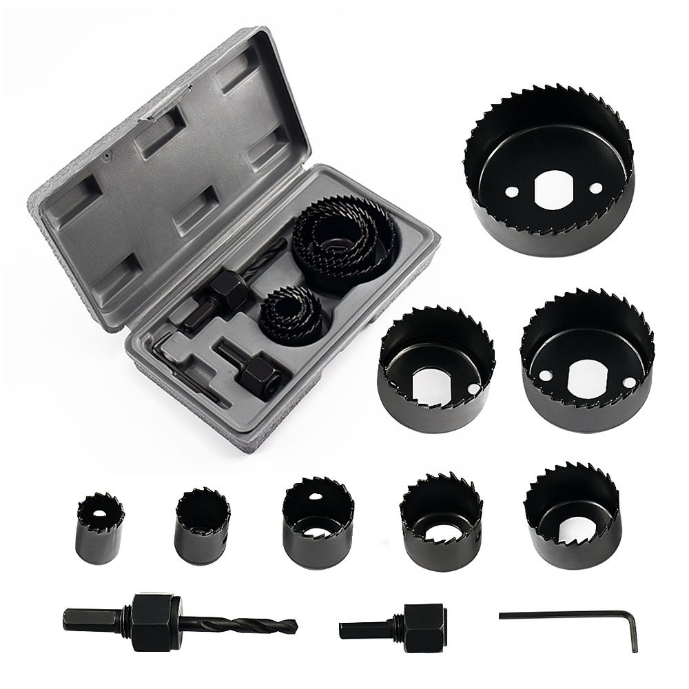Locisne Hole Saw Set 11 pieces 3/4'' - 2 1/2'' Hole Saw Kit Hex Key and Install Plate for Wood, PVC board, Plastic Plate Drilling