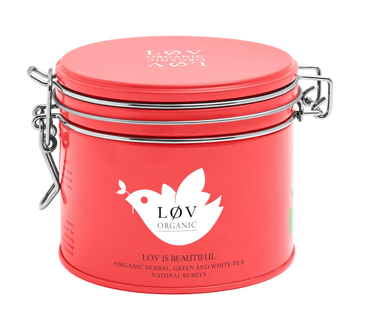 Løv Organic Løv is Beautiful Green Tea, Rooibos, and White Tea - Natural Fruit Flavors - Hot or Iced Tea (3.5oz Loose Tea Tin - 40 Servings) by LØV ORGANIC