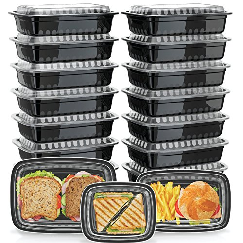 Green Label [21 Pack] Assorted Meal Prep Containers [3 Sizes] with Lids, Bento Box and Food Storage, Microwavable, Stackable, Dishwasher and Freezer Safe, Amazon Exclusive, Black