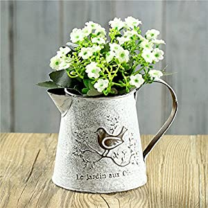 VANCORE French Style Shabby Chic Mini Metal Pitcher Flower Vase with Vintage Bird Decorative ¡­ 12