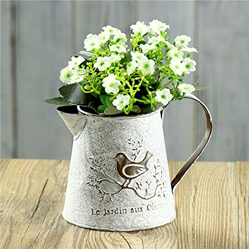 VANCORE French Style Shabby Chic Mini Gift Metal Pitcher Flower Vase with Vintage Bird Decorative