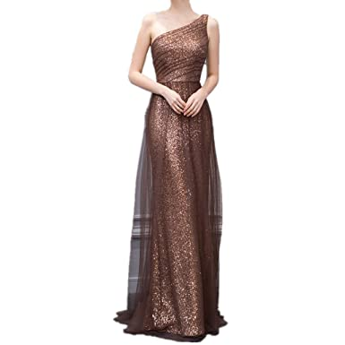 LeoGirl Womens One Shoulder Sequin Long Prom Dresses Ladies Formal Evening Gown (2, Bronze