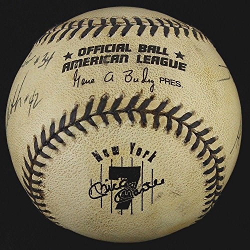 1996 NY Yankees Mickey Mantle Day Commemorative Game Used Ball Signed by 4 UMPS - MLB Autographed Game Used Bats