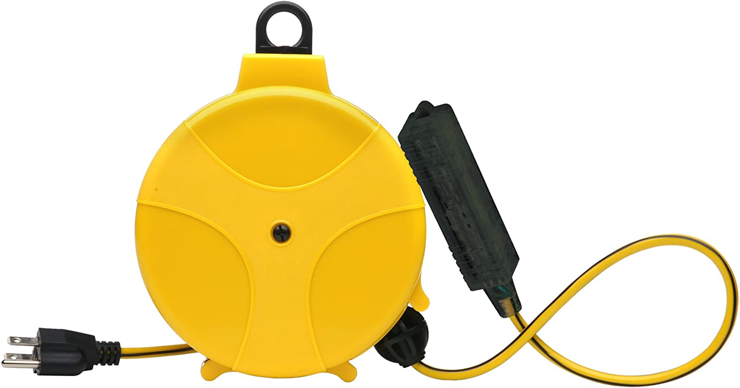 Designers Edge E315 20-Foot Yellow Retractable Extension Cord Reel