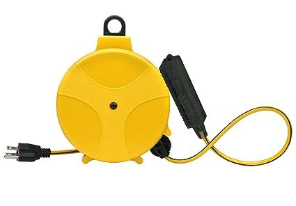 Retractable Extension Cord Reel >> Designers Edge E315 20 Foot Yellow Retractable Extension Cord Reel