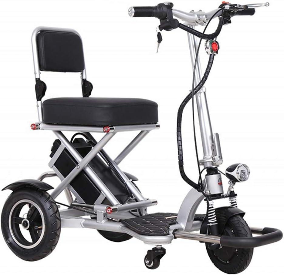 MMJC Triciclo Eléctrica Plegable, Ligero Y Gran Espacio De Almacenamiento para Los Ancianos Discapacitados Scooter Eléctrico De Seguridad Anti-Colisión Y Anti-Vuelco