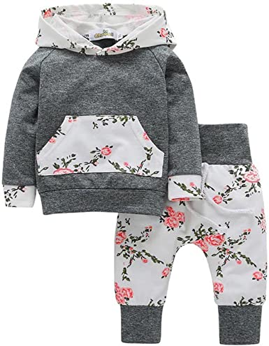 Toddler Baby Girl Boy Floral Hooded Tops Trouser Tracksuit Outfits Clothes Sets