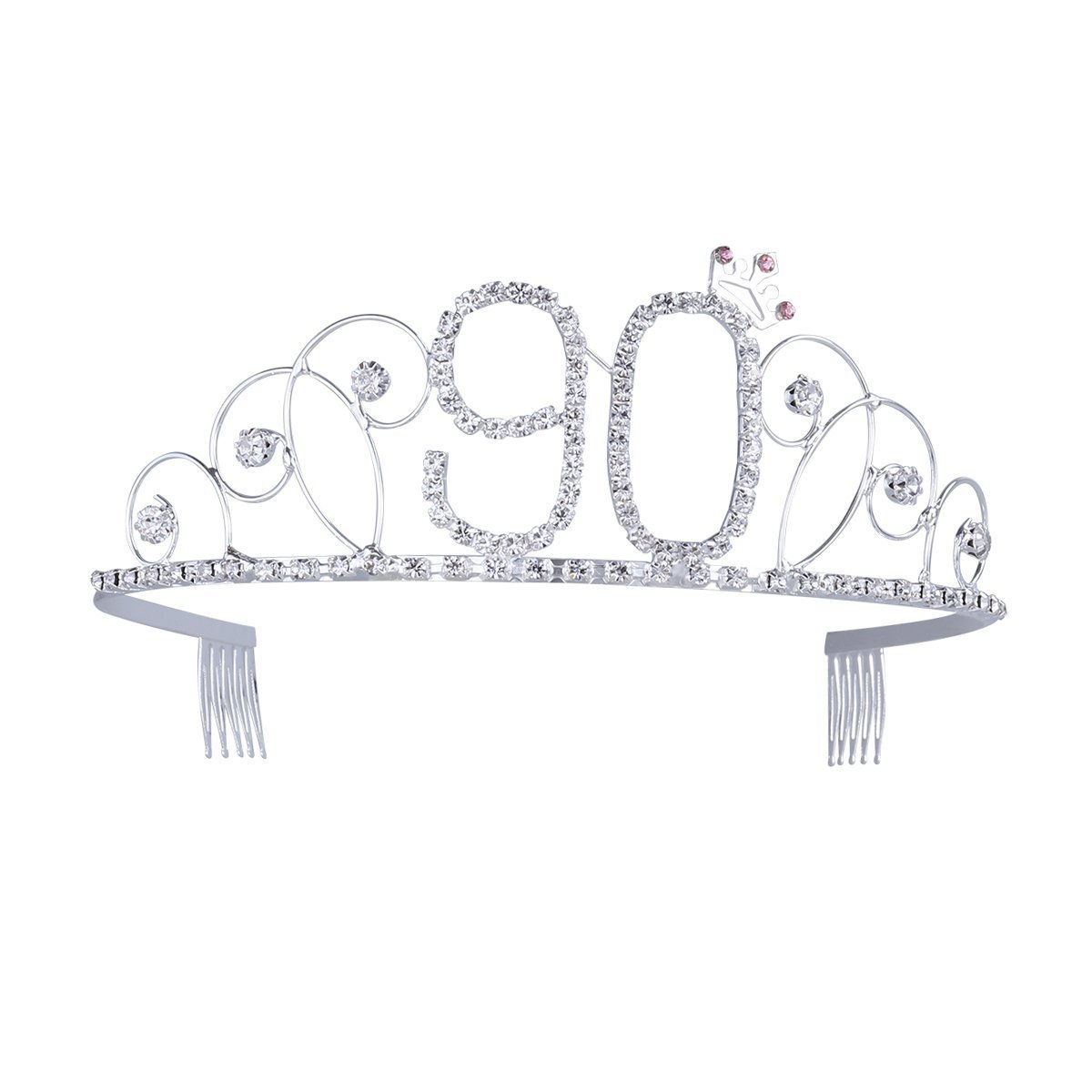 Frcolor Happy Birthday 90th Crystal Rhinestone Tiara Crown
