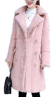 3fad3b4635e2 Women s Winter Shearling Coat Faux Long Sheepskin Lamb Turtle Neck Outwear  Jacket