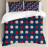 Anchor Duvet Cover Set Queen Size by Ambesonne, Nautical Pattern with Steering Wheels Big Red Polka Dots Hearts Sea Love, Decorative 3 Piece Bedding Set with 2 Pillow Shams, Night Blue Vermilion