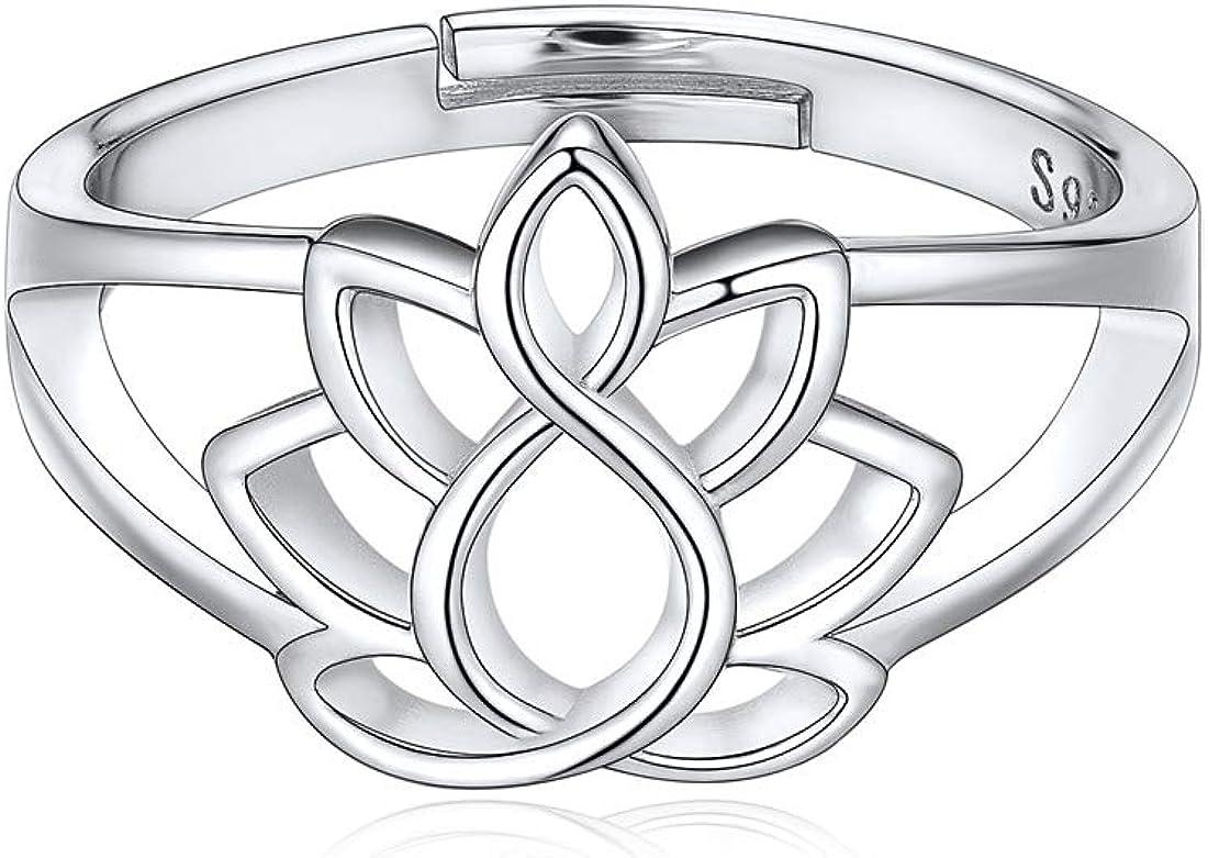 ChicSilver Plata de Ley 925 Anillos Ajustables para Mujeres Boca Abierta Joyería Moderna Decorativa de Dedos Regalo Maravilloso Diseño Especial Minimalista