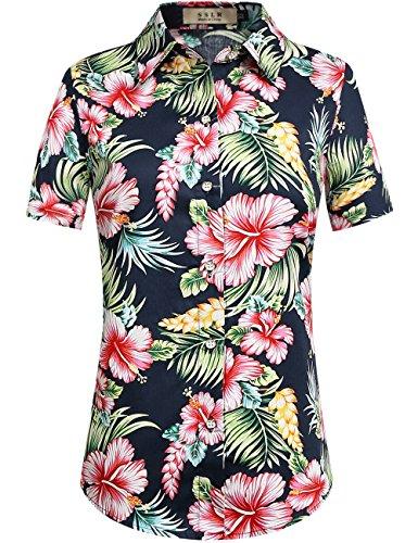 SSLR Women's Floral Button Down Causal Short Sleeve Aloha Hawaiian Shirt (Medium, Navy)