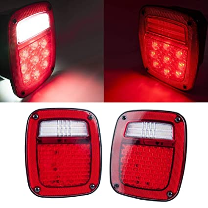 liteway led tail light with led license square turn lights plate lamp  stopturn signal back up lights for tj jk truck trailer boat jeep 2 pack,