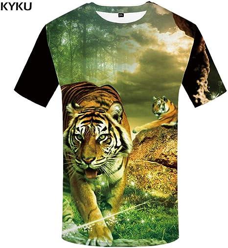 KYKU Marca Tiger T Shirt Camiseta Negra Ropa Amarilla Camisas de Animales Ropa de Camiseta Hombres Rock Hip Hop Nuevo: Amazon.es: Deportes y aire libre