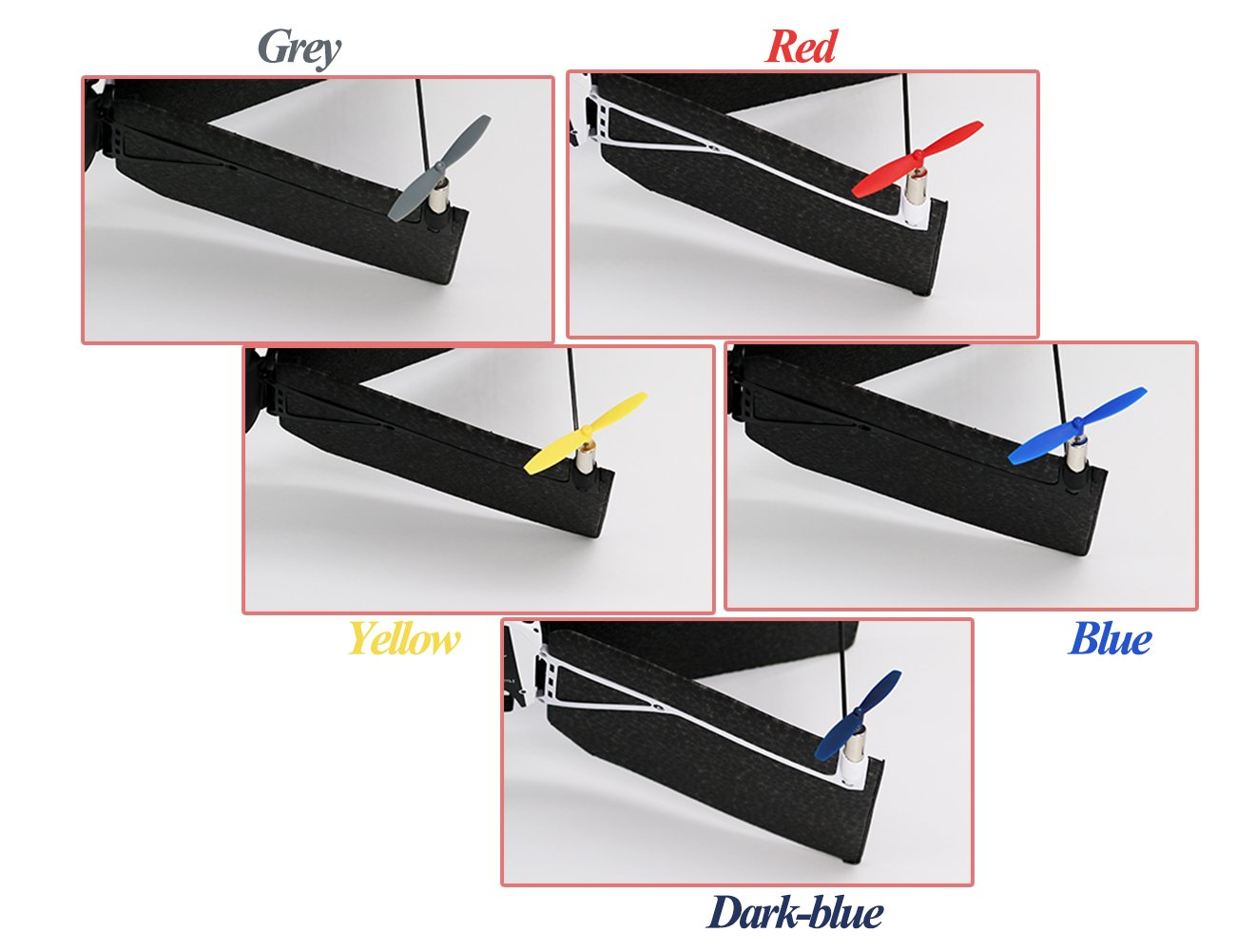 Colors: Blue//Red//White//Yellow//Black//Dark Blue//Grey Anbee 7 Colors Propellers Combo for Parrot Minidrones Rolling Spider Airborne Cargo /& Night Drone Hydrofoil Drone Mambo /& Swing Drone