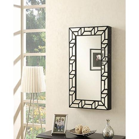 Amazon Com Coaster Wall Mount Jewelry Armoire Mirror In Black Jewelry