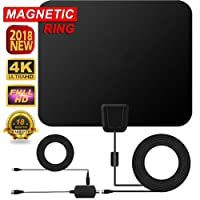 2018 New Version HDTV Antenna,Hotdog 60-80 Mile Range Digital TV Receiver With Detachable Amplifier, USB Power Supply And 16.4ft Coax Cable,Indoor TV Antenna Transparent Appearance Upgrated Version