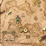 York Wallcoverings SB7791 Brothers and Sisters V Pirates Map Wallpaper, Tan/Brown/Green/Teal/Grey/Gold/Red/Orange